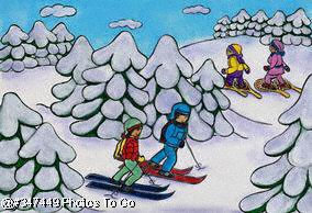 Illustration: Cross-country skis & snowshoes